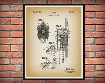 Patent 1936 Cuckoo Clock - Ornate Wall Clock - Art Print - Poster - Wall Art - Gingerbread Clock - Grandmothers Clock - Clock Maker Art
