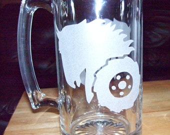 wheel horse etched beer mug