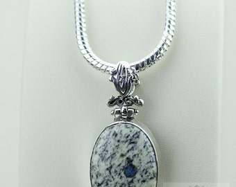 K2 stone Afghanite 925 S0LID Sterling Silver Pendant + 4MM Snake Chain & Free Worldwide Shipping P3521