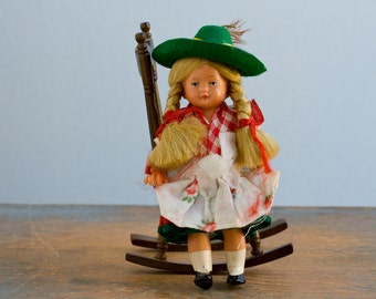 Vintage Small Hard Plastic German Doll