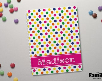 Polka Dot Personalized Notebook, Cute Notebook, Bright or Pastel Custom Notebook, Ruled Notebook, Personalized Journal, 8.5 x 11,  TFS/NB007