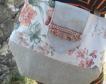 bag shoulder, bag flowers, beige bag