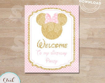 Pink and gold Minnie Welcome Sign, Glitter gold Birthday Sign,  Birthday Party Sign, Polka dot Door Sign INSTANT DOWNLOAD