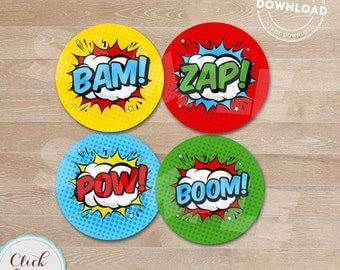 Superhero Cupcake toppers, Super hero, Superheroes, Cupcake decorations, Birthday party decorations, Party supplies, INSTANT DOWNLOAD