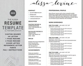 resume template and cv template for ms word custom header 1 and 2 page