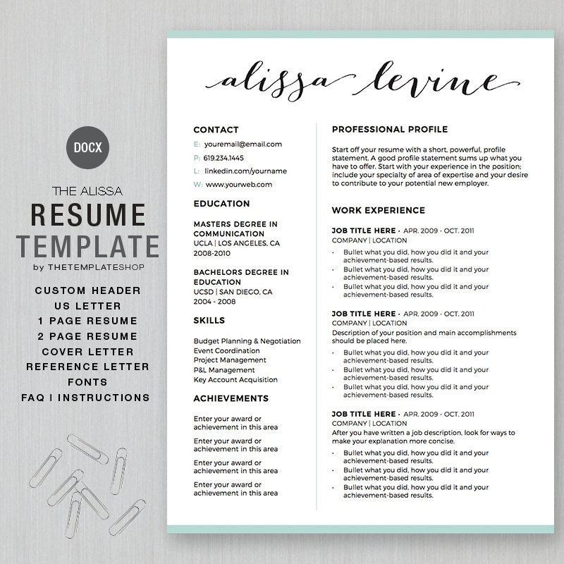 resume template and cv template for ms word custom header
