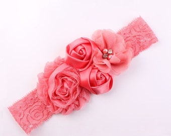 Coral Flower headband, Lace flower headband, Vintage inspired lace headband, shabby chic headband, Ready to ship