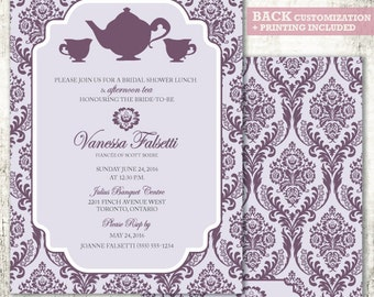 TEA PARTY Bridal Shower Invitation // Damask Design // Wedding Shower// PRINTED Invites //Mauve, Grey & Purple