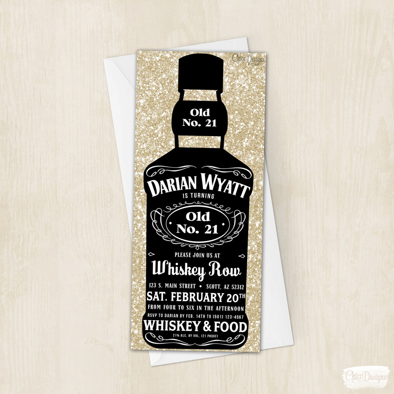 whiskey bottle invitation alcohol bottle invite twenty