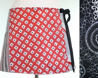 Red Upcycled Mini Skirt- Repurposed Wrap Skirt- Embroidered Mini Skirt- Black Dress Skirt- Black Circle Skirt- Red Wrap Skirt- Charley Girl