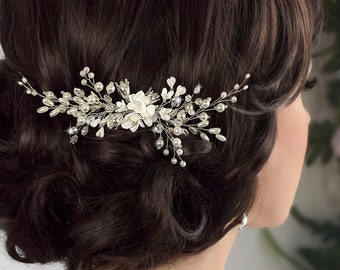 bridal hair comb, wedding hair comb, bridal headpiece, flower hair comb, wedding hair piece, pearl hair comb, pearl hair piece, hair jewelry