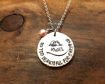 Mommy Of An Angel Necklace, Too Beautiful For Earth Remembrance Necklace, Memorial Necklace, Infant Loss Necklace, Miscarriage Jewelry
