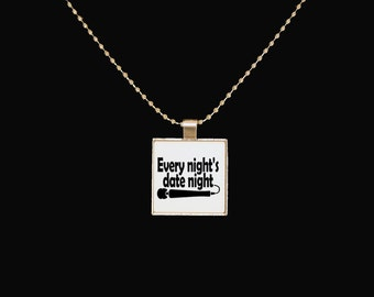 Date night, funny pendant, masturbation, magic wand, funny jewelry, square jewelry, sarcasm, statement necklace, statement jewelry, dildo