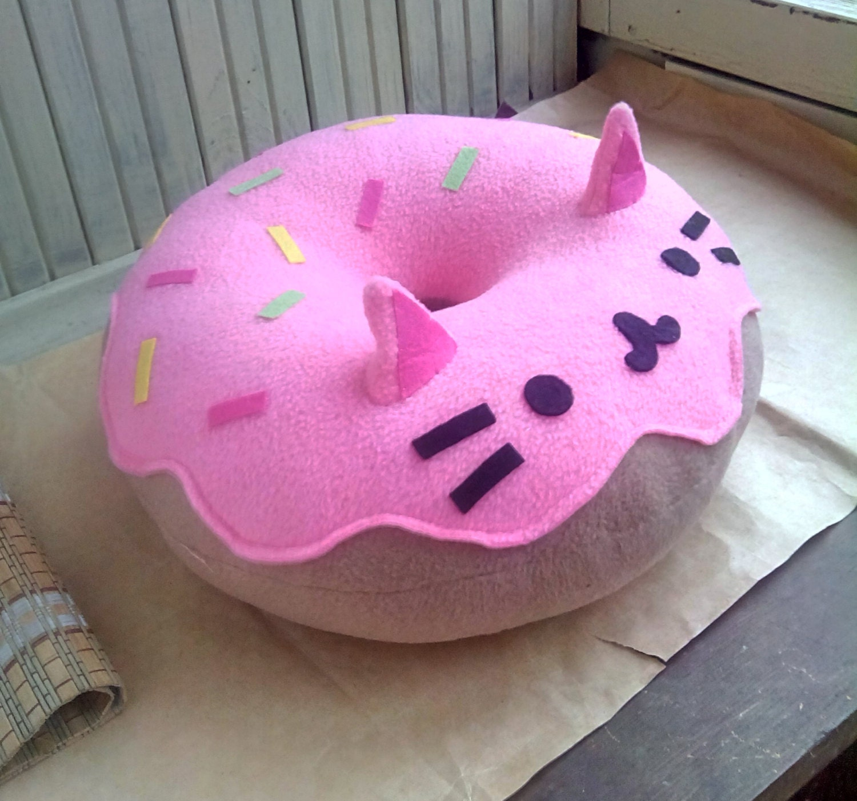 Cat Pillow Kitty Cat Donut Pillow Plush Pink Free Shipping