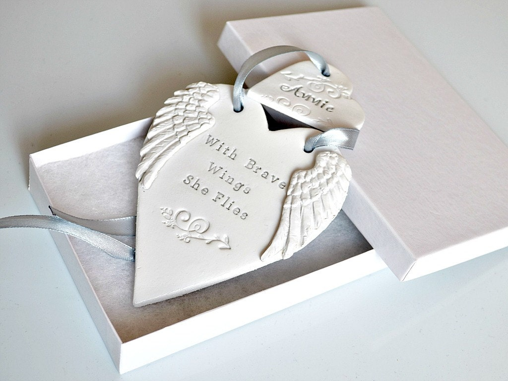 Baby loss ornaments - With Brave Wings She Flies Clay Ornament With Angel Wings And Inspirational Quote Miscarriage