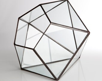 Large Geometric Terrarium // Clear Glass Diamond // Planter for indoors