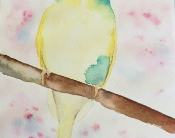 Yellow Parakeet Watercolor painting