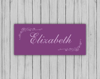 purple place cards, fairytale wedding place cards, elegant place card, tent fold place cards, table names, printable place cards.