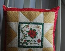 Holly & Poinsettia Cushion, Christmas Pillow, Christmas Gift, Patchwork Star Pillow