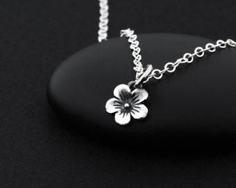 Cherry Blossom Necklace, Dainty Flower Necklace, Sterling Silver, Japanese Cherry Blossom, Tiny Flower Necklace, Cherry Blossom Jewelry
