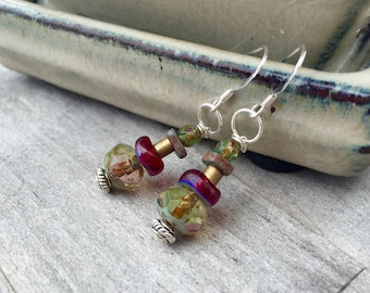 Sterling silver earrings colorblock glass bead earrings red green earrings boho jewelry gypsy colorful iridescent earrings unique handmade