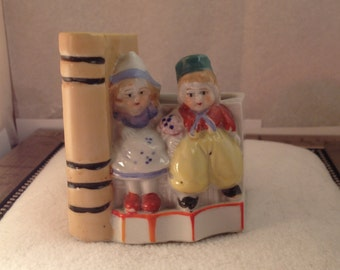 Colorful Sweet Little Dutch Children 1940s Made in Japan Planter ~ Vivid Colors ~ Angelic Expressions