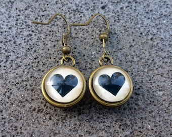 Earrings - Black Heart