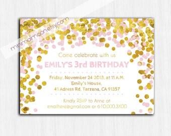 Confetti Birthday Invitation, Gold glitter Printable birthday invitation, Children Birthday Party invitation, pink, sparkle, gold, glitter