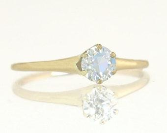 Antique Vintage Estate .50ct Old Mine Cut Diamond 14K Gold Victorian Engagement Ring 1.7g