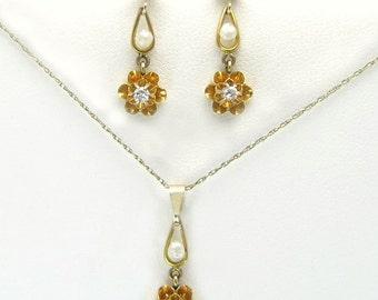 Antique Vintage Estate 14K Yellow Gold Genuine Diamond & Pearl Victorian Pendant Earrings Set 2g