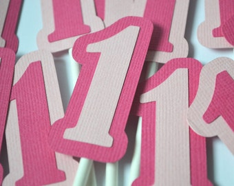 Ladybug Number Birthday Cupcake Toppers Hot Pink & Light Pink  By The Dozen 12