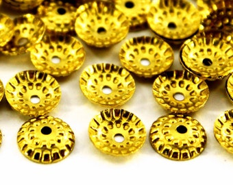 100 pcs 9 mm Raw Brass Curved Round