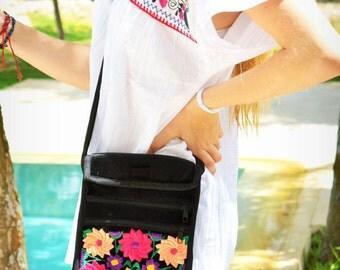 Lovely Floral Crossbody Black Velvet Bag / Ethnic Style From Chiapas