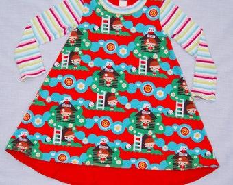 Girls Tshirt dress, Tunic Dress, Stripes, Tree House