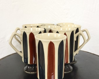 Vintage Coffee Mugs sold separately mid century Black White Brown Pottery hand painted, Retro,