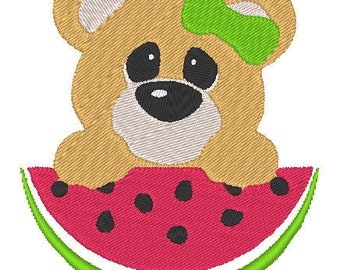 Cute Teddy Bear and Watermelon Embroidery Design File Instant Download