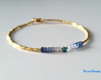 Genuine Blue Sapphire and 24K Gold Vermeil Beads, Precious Gemstone Jewelry, September Birthstone, Ombre Bracelet