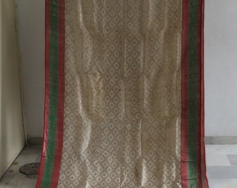 indian vintage saree woven craft fabric banarasi saree silk drape wrap HS#92