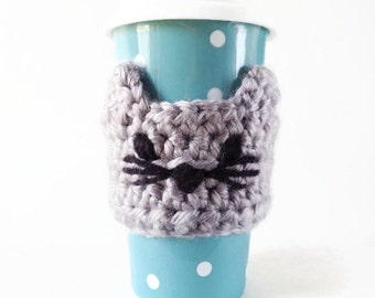 Cat Coffee Sleeve - Coffee Mug Cozy - Christmas Gift - Travel Mug Sleeve - Crochet Cozy - Knit Coffee Sleeve - Cat Lady Gift - Cat Mug Cozy