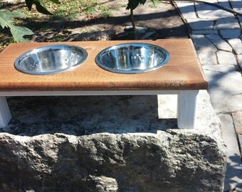 farmhouse table dog bowl stand small