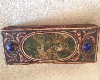 Antique Glove Box / Jewelry Box / Hand Carved & Hand Painted, Victorian, Veranda Magazine, Vanity Decor