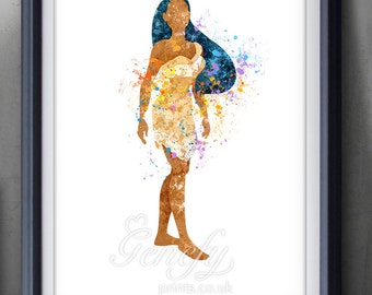 Disney Pocahontas Watercolor Poster Print - Watercolor Painting - Home Decor - Watercolor Art - Kids Decor- Nursery Decor