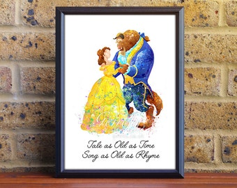 Disney Princess Belle Beauty and the Beast Watercolor Poster Print - Watercolor Painting - Watercolor Art - Kids Decor- Nursery Decor [3]