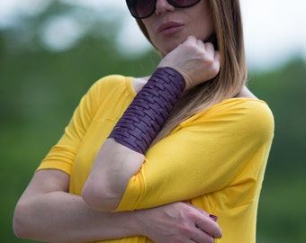 Women's Genuine Leather Bracelet, Leather Wrist Cuff, Purple Extravagant Leather Bracelet by EUGfashion