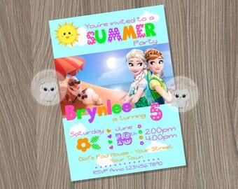 Frozen Summer Invitation, Frozen Invitation, Disney Frozen, Pool party Invitation, Frozen Birthday, Frozen Party, Summer Birthday Invitation