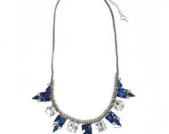 Blue and Silver Gemstone Necklace NL0203GM