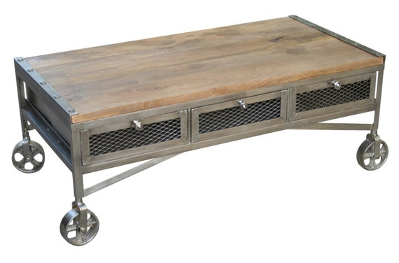 Wood and steel coffee tables on wheels by for Industrial wood coffee table with wheels