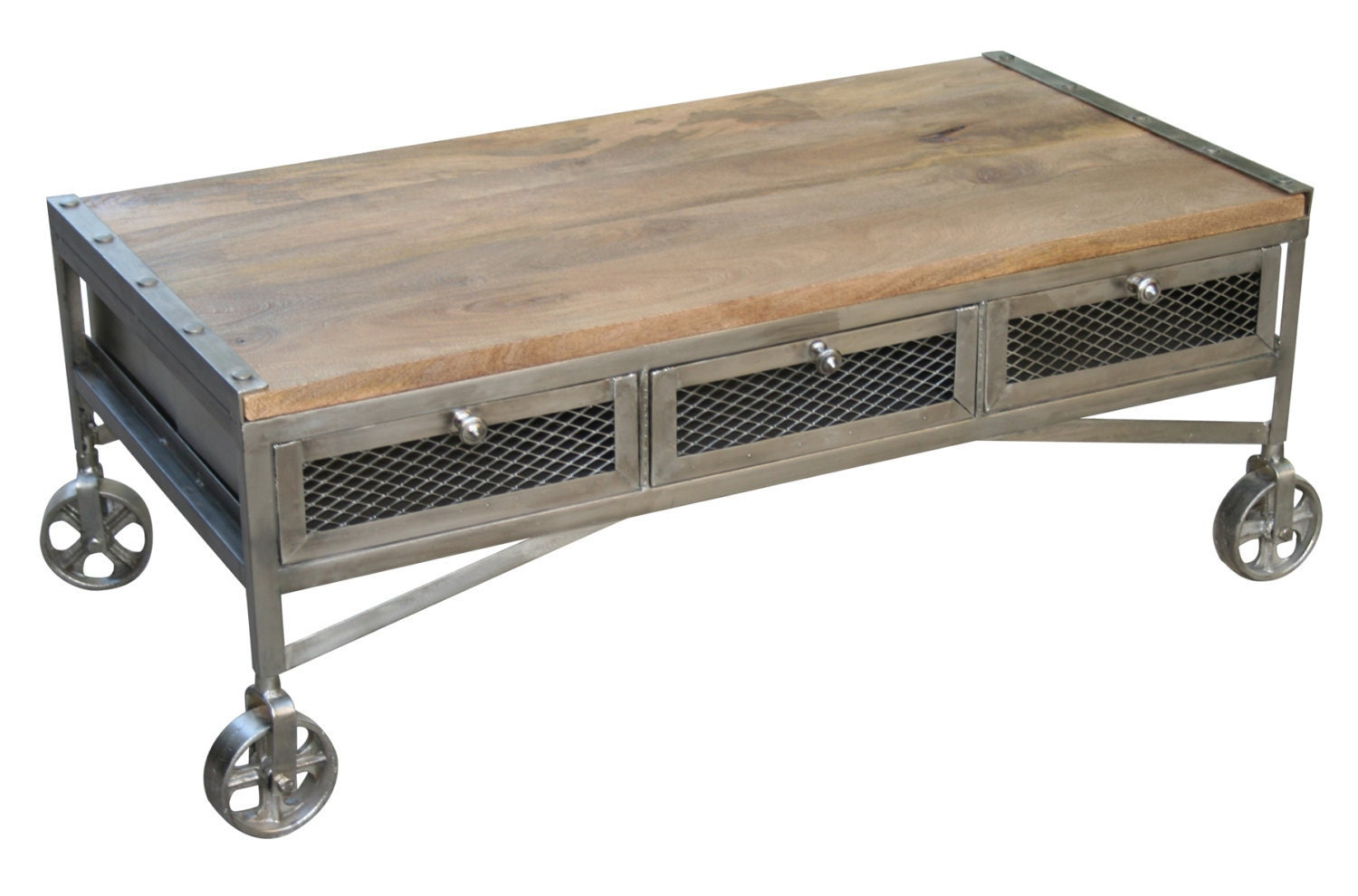 Wood And Steel Coffee Tables On Wheels By Inyourplacefurniture
