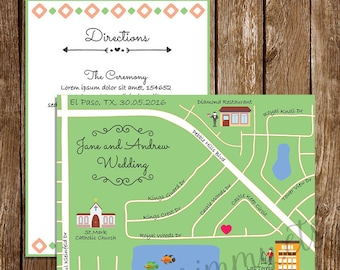 Personalized Wedding Map, Custom Design, Wedding Intinerary, Wedding Invitation, Direction Card, Any Location, Custom Map, S024