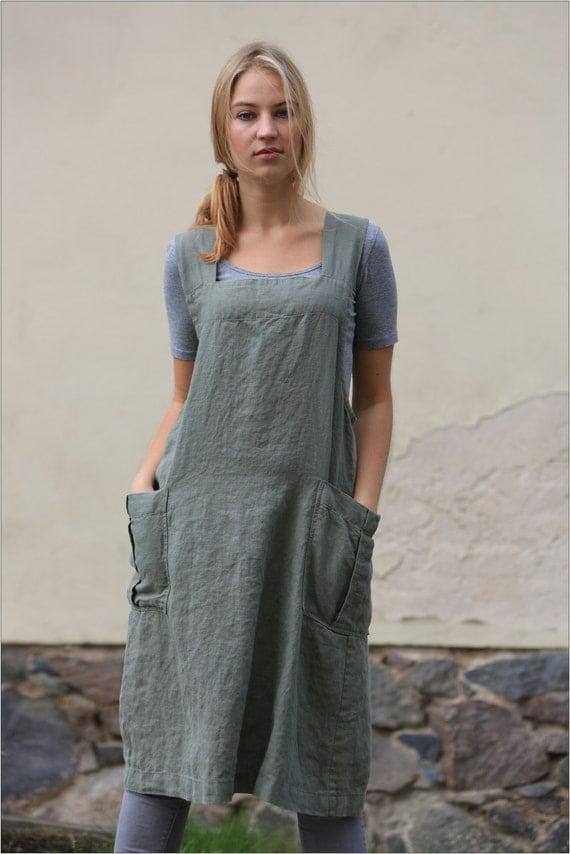 Linen Pinafore apron / Square Cross Linen Apron / Japanese Apron / Washed long apron / linen top / linen tunic